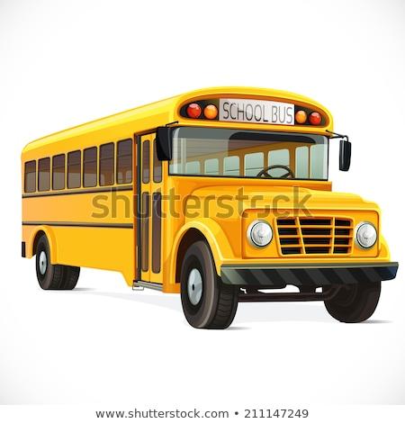 Amarelo ônibus escolar ícone isolado branco de volta à escola Foto stock © MarySan