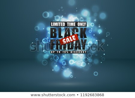 black friday sale banner black text with red tag and glow sparks bokeh effect on blue green stock photo © iaroslava