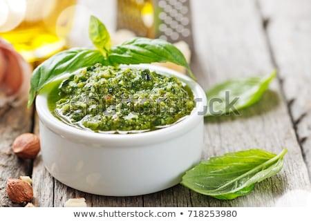 Italiano pesto molho manjericão ingredientes topo Foto stock © YuliyaGontar