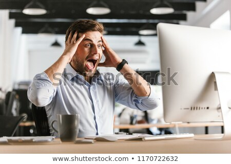 Surpreendido gritando homem de negócios cabeça Foto stock © deandrobot
