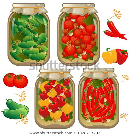 Korunmuş gıda domates ayarlamak posterler metin Stok fotoğraf © robuart