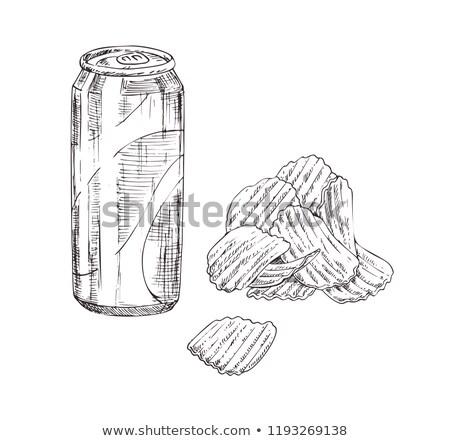 üdítős doboz sültkrumpli vektor monokróm rajz kézzel rajzolt Stock fotó © robuart