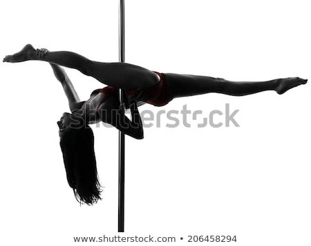 Rúdtánc nő sziluett pólus táncos testmozgás Stock fotó © Krisdog