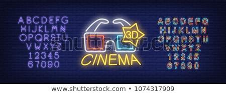 Okulary 3d neon kina promocji telewizji film Zdjęcia stock © Anna_leni