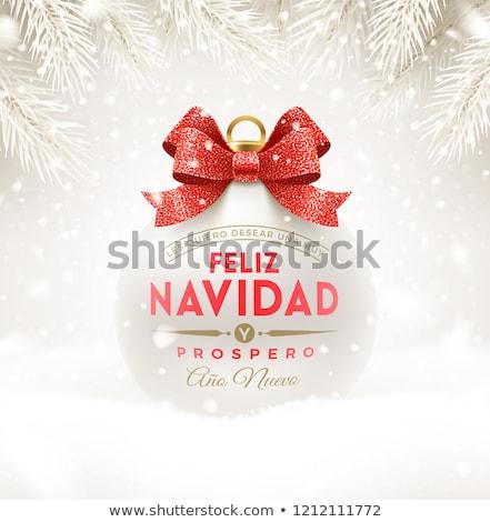 Spanish Christmas card of red navidad ribbon bow Stock photo © cienpies