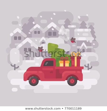 Stok fotoğraf: Kırmızı · çiftlik · kamyon · noel · ağacı · hediyeler · sürücü