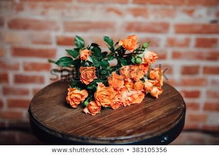 Mini rosas vintage superfície parede de tijolos Foto stock © ruslanshramko