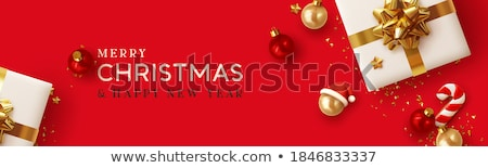 Banner with red and golden confetti  Stock photo © Artspace