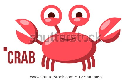 funny crab vector icon shelf red crab water sea animal isolated flat cartoon illustration stock photo © pikepicture