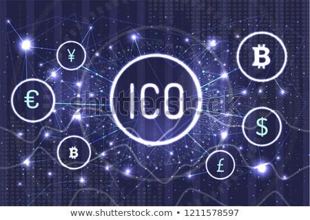 Bitcoin pond vector technologie iconen Stockfoto © robuart