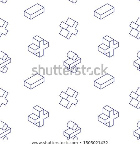 Algebra outline isometric pattern Stock photo © netkov1