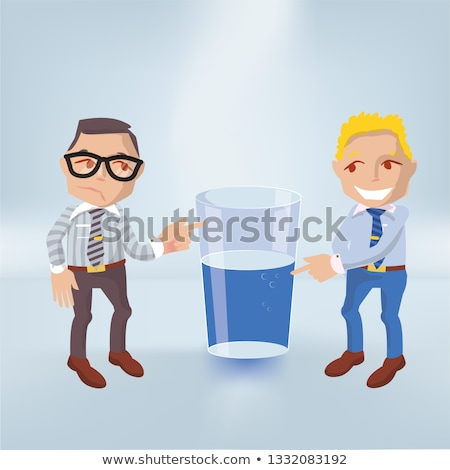 Little males with a glass half full or half empty Stock photo © Ustofre9