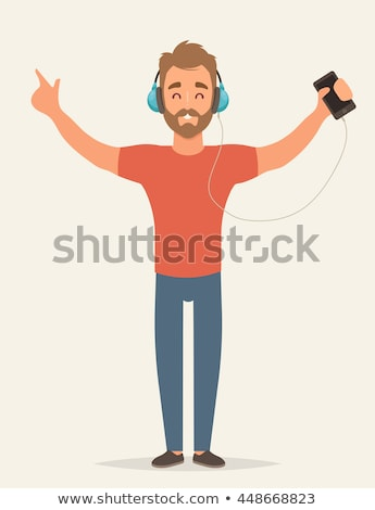 listening to music   flat design style colorful illustration stock photo © decorwithme