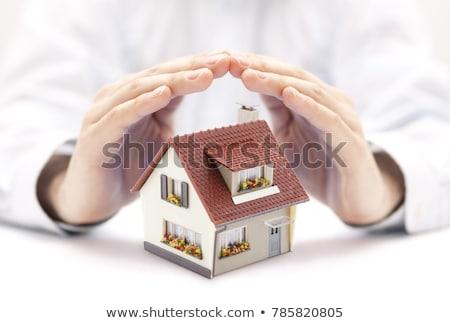 Huis bescherming witte 3d illustration home veiligheid Stockfoto © make