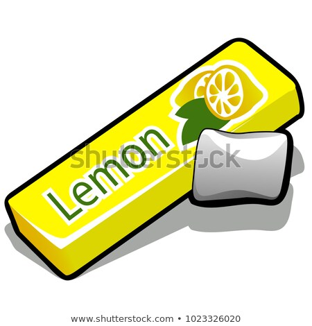 Chewing gum with lemon flavor isolated on white background. Cleaning the teeth after eating. Vector  Stock photo © Lady-Luck