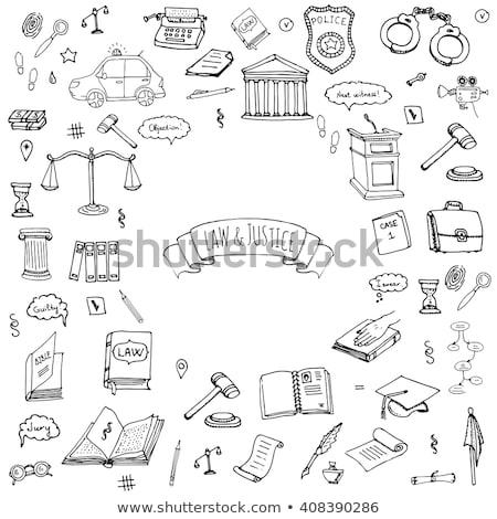 törvény · bíró · ikon · gyűjtemény · igazság · felirat · könyv - stock fotó © netkov1
