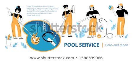 Pool and outdoor cleaning concept landing page. Stock photo © RAStudio