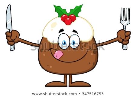 Karácsony puding rajzfilmfigura ajkak tart ezüst étkészlet Stock fotó © hittoon
