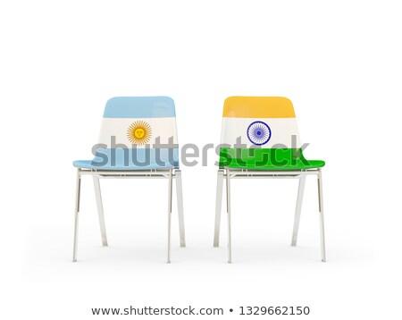 Photo stock: Deux · chaises · drapeaux · Argentine · Inde · isolé