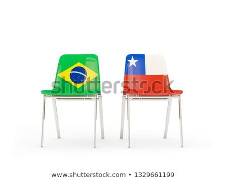 Zwei Stühle Fahnen Brasilien Chile isoliert Stock foto © MikhailMishchenko