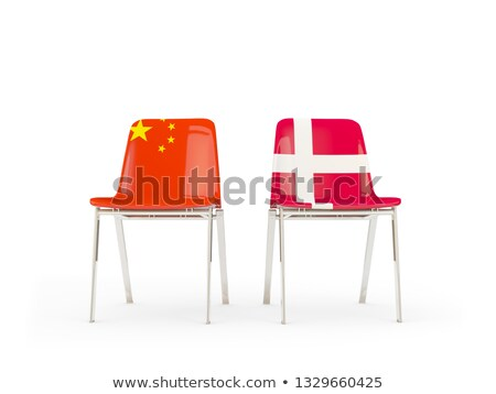 Twee stoelen vlaggen China Denemarken geïsoleerd Stockfoto © MikhailMishchenko