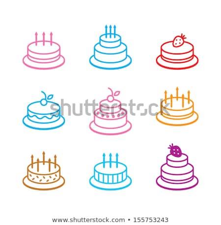 bolo · de · aniversário · chocolate · cerejas · vetor · vermelho · frutas - foto stock © loopall