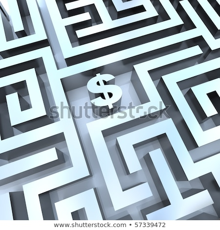 3D dollarteken symbool doolhof puzzel 3d render Stockfoto © ribah