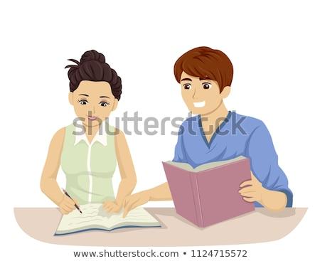 Teen Girl Study Buddy Illustration Stock photo © lenm