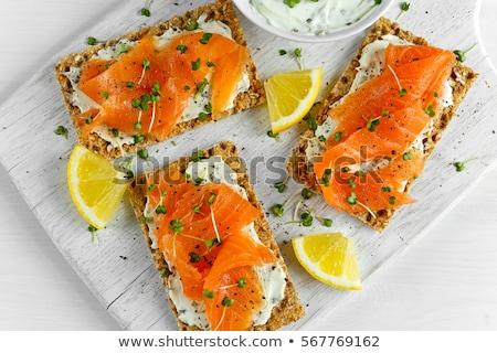 Kenyér sajt lazac reggeli asztal háttér Stock fotó © tycoon