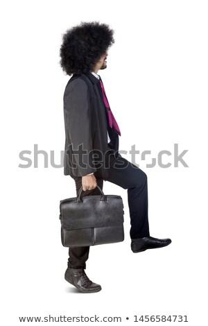 側面図 笑みを浮かべて ビジネスマン ブリーフケース 話し ストックフォト © deandrobot