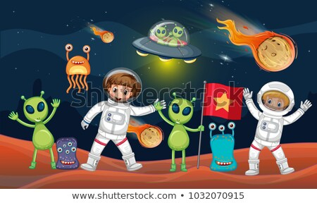 Space theme with two astronauts and many aliens Stock photo © colematt