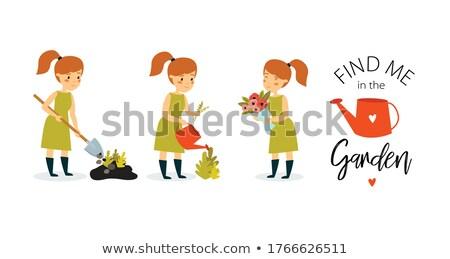 Grappig bloemist vrouw werken bloemen foto Stockfoto © deandrobot