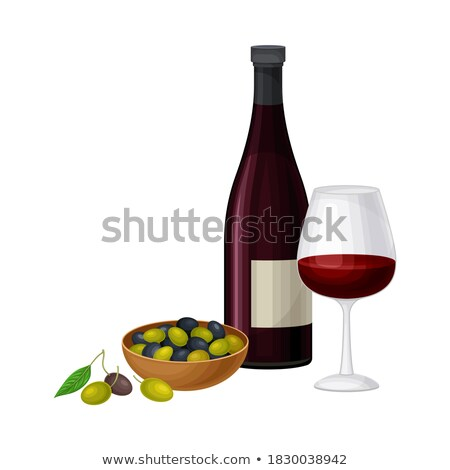 Vector symbols of Spain. Bottle of red wine with a glass.  foto stock © Giraffarte