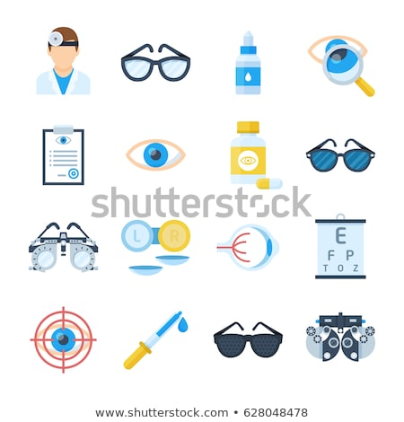 Ophthalmology Tools, Sight Examination Equipment Vector Set Сток-фото © pikepicture