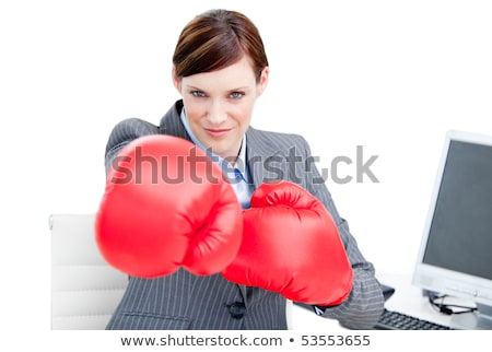 Arm with boxing gloves hits office worker concept ストックフォト © ra2studio