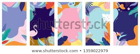 Sommer Flamingo tropischen Blumen grünen Palmblättern Stock foto © Artspace