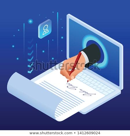 Elektronikus papír pici üzletemberek nagyító olvas Stock fotó © RAStudio