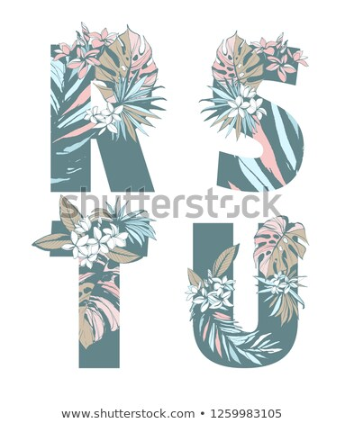 vector summer party flyer design with flower and tropical palm leaves on blue and pink background s stock photo © articular