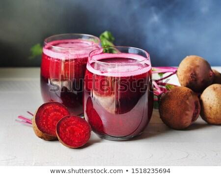 Pancar meyve suyu cam atış sağlıklı gıda Stok fotoğraf © andreasberheide