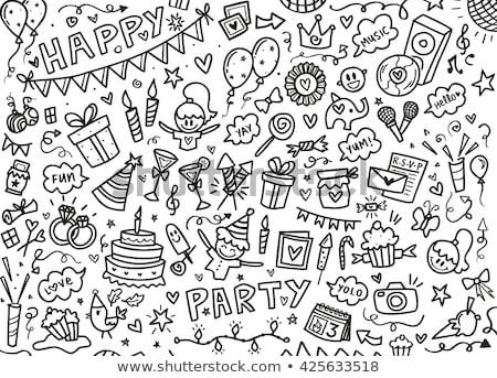 happy couple with party caps and balloons Stock photo © dolgachov