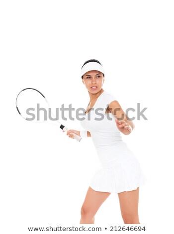 female tennis player holding ball over racket stock photo © pressmaster