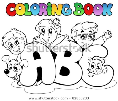 coloring book boy and pets by letter i stock photo © clairev