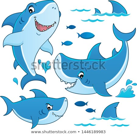 Rekina temat kolekcja morza sztuki zwierząt Zdjęcia stock © clairev
