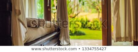 Bella stanza villa asciugamano letto banner Foto d'archivio © galitskaya