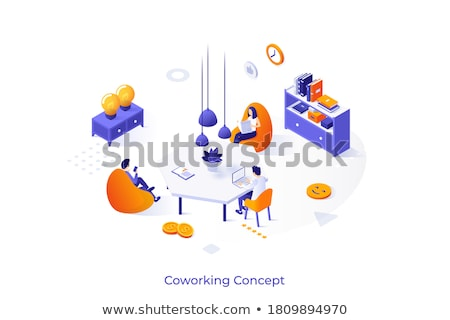 Coworking center - colorful isometric vector web banner Stock photo © Decorwithme
