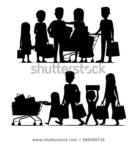 Rodziny sylwetka wektora wakacje rodziców Zdjęcia stock © robuart