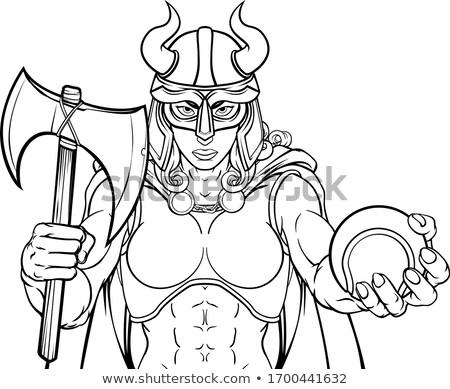 Viking feminino gladiador tênis guerreiro mulher Foto stock © Krisdog