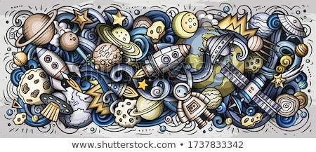 Karikatür karalamalar kozmik yatay şerit örnek Stok fotoğraf © balabolka