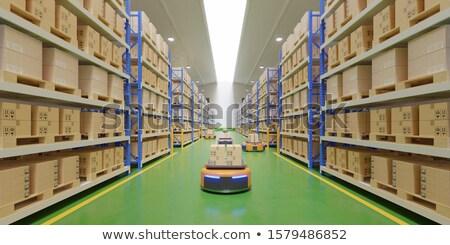 autonomous robot arms with boxes and conveyor belt 3d-illustrati Stock photo © Wetzkaz