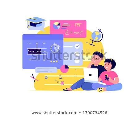 Afstand studie online onderwijs webinar vector Stockfoto © robuart